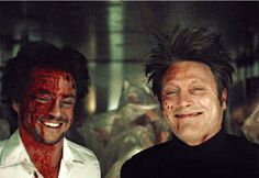 Hannibal BTS: Hugh Dancy & Mads Mikkelsen hanging upside down like the adorable opossums they are!