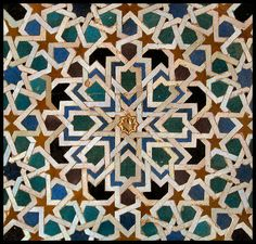 The Islamic world, primarily of Asia and North Africa, took a radically different approach to mosaics than Europe did.  Instead of using tesserae (the small, usually square tiles made from clay, stone of glass) to create a larger recognizable picture, Islamic artists used them to create complex patterns instead.  Usually these mosaics formed tessellations, repeating geometric designs of polygons that have no overlaps of gaps.
