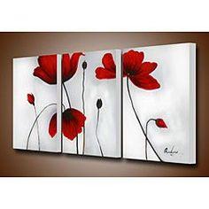 Flowers Hand Painted Oil On Canvas Art Set