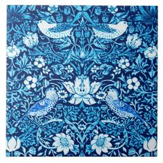 Art Nouveau Bird and Flower Tapestry Dark Blue Tile - home gifts ideas decor special unique custom individual customized individualized
