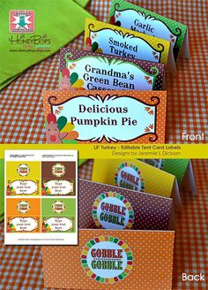 Instant Download EDITABLE Turkey Thanksgiving Tent by HoneyBops, $5.95 #thanksgiving #editable #foodlabel #printable #minicards