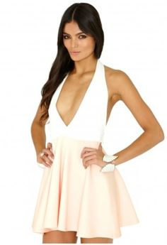 444528b4b5 Pozi Contrast Halterneck Skater Dress In Nude