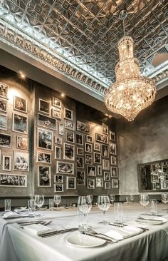 An Australian-designed restaurant in New York: Months were spent restoring this original skylight, with 1000 pieces of hexagonal glass, in the private dining room.