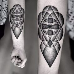 Black and gray dotwork, geometric tattoo