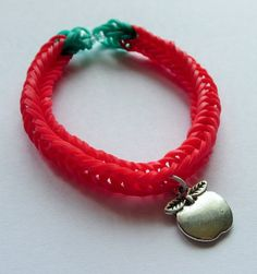 Red Apple Charm Loom Band Bracelet by Sydric on Etsy, $5.50