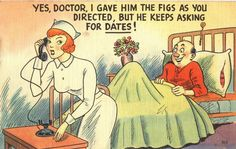 A bawdy postcard portrays the nurse as sex symbol and romantic interest, Pictures of Nursing: The Zwerdling Postcard Collection. National Library of Medicine Funny Postcards, Photo Postcards, Funny Cartoons, Funny Comics, History Of Nursing, Blonde Jokes, Funny Gags, Funny Memes, Hilarious
