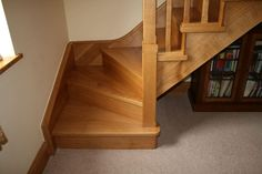 note the stringer design for the quarter turn staircase