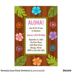 Shop Hawaiian Luau Party Invitation created by Personalize it with photos & text or purchase as is! Luau Party Games, Luau Party Supplies, Luau Theme Party, Hawaiian Party Decorations, Birthday Supplies, Hawaii Birthday Party, Hawaiian Luau Party, Hawaiian Birthday, Birthday Parties