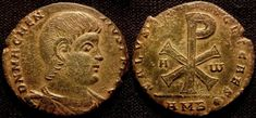 10415. MAGNENTIUS, 350-353 AD. AE Double centenionalis. 7.8 g. 22 mm. Ambianum mint. Obverse: Bare headed, draped and cuirassed bust right. ...
