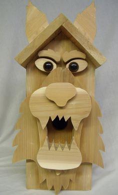 "Big Bad ""Wolfy"" Birdhouse of Solid Cedar. $48.00, via Etsy."