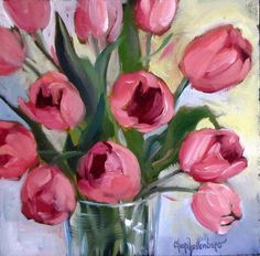 Oil Painting Pink Tulips Small 8x8 Canvas by Cheri Wollenberg