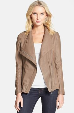 Elie Tahari 'Andreas' Draped Collar Leather Jacket available at #Nordstrom