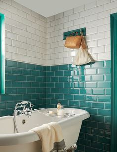 Bathroom wall tiles at Topps Tiles. Metro Tiles Bathroom, Small Bathroom Tiles, Upstairs Bathrooms, Downstairs Bathroom, Bathroom Inspo, Bathroom Wall, Modern Bathroom, Bathroom Colours, Bathroom Green