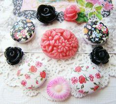 Chic Pink Black Flower Chintz Rose Flower by alyssabethsvintage, $4.25
