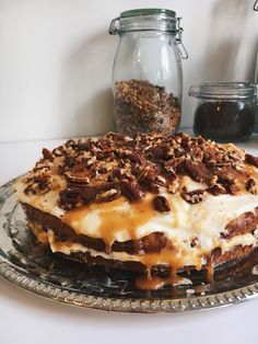Carrot cake topped with pecans and salted caramel #cake #carrotcake