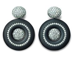 Hemmerle earrings in iron, black finished silver and white gold, with old cut diamonds.