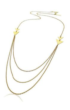 Shlomit Ofir Double Triangle Necklace. Adore the 3 hanging chains this is the perfect peice to dress up any sweater!  http://www.shopcloakroom.com/collections/jewelry/products/double-triangle-necklace-by-shlomit-ofir