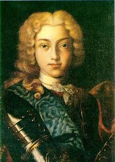 Tsar PETER II ALEKSEYEVICH  (1715 – 1730)  the last in the direct male line of the Romanov Dynasty. Son of TSAREVICH ALEXEI PETROVICH ROMANOV &  Charlotte Christine Sophia of Brunswick-Wolfenbüttel. Grandson of PETER THE GREAT.  Tsar for 3 years. Died at age 15 on the day he was to marry his great love  Ekaterina Dolgorukova. He is the only Tsar after Peter I to be buried in the Kremlin.