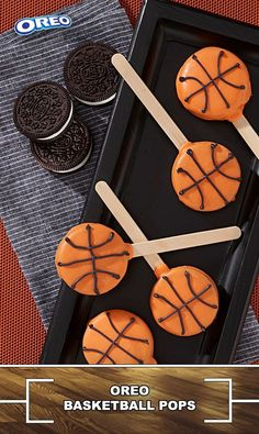 OREO Basketball Pops Recipe We're suckers for these sweet little pops, featuring OREO Cookies decorated to look just like little basketballs. This one's a slam dunk for everyone – friends, family and kids of all ages. Basketball Baby Shower, Basketball Birthday Parties, Basketball Party Favors, Sports Birthday Cakes, Sports Party Favors, Theme Sport, Boy Birthday, Birthday Ideas, Birthday Basket