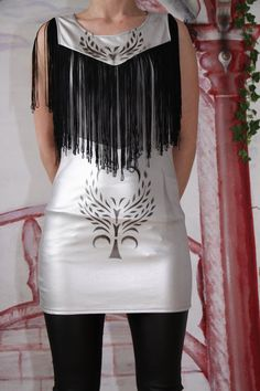 Upcycled Stretch Faux leather grey fringe mini dress    by Qades