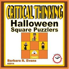 CRITICAL THINKING: Halloween Square Puzzlers    Corral some of that holiday energy with Halloween Square Puzzlers.  They are excellent for exercising problem solving skills.    $