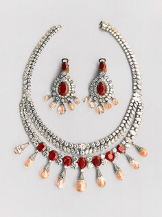 The new ruby and diamond necklace designed by Van Cleef  Arpels in 1952.