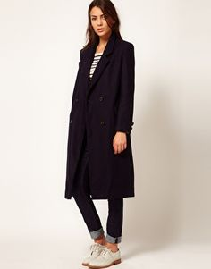 Enlarge Ganni Malin Smart Wool Overcoat in Navy