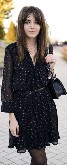 Spring / summer - Fall / winter - business casual - work outfit - casual look - street & chic style - navy polka dot long sleeve chiffon dress + thights + black belt