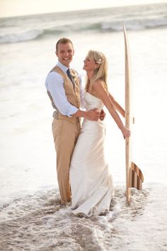 Wedding, ocean, surfboard...sounds just about perfect to me.
