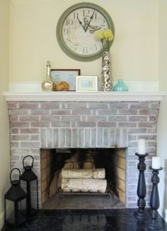 easy whitewashed brick fireplace