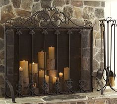 Cast Floral Single Screen Fireplace Collection #potterybarn  Cant have fire because of allergies. Use candles.