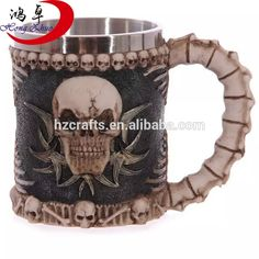 New Stainless Steel Liner Drinking Skull Mug, Resin 3D Skull Tankard Horror Decor Cup for Halloween Bar Party