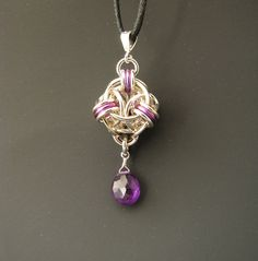 Helm Orb Chainmaille Pendant with Amethyst by WolfstoneJewelry, $40.00