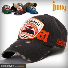 ililily New Mens Distressed Baseball Cap Vintage washed Ball Caps Hats Trucker
