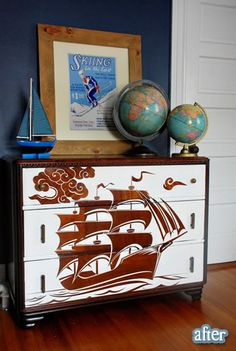 I wouldn't necessarily want THIS particular dresser, but I am LOVING the look of paint and stain combined and am definitely going to do a version that works for us.
