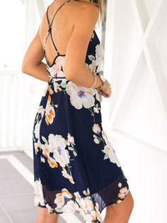 Floral print chiffon summer dress. Gorgeous spaghetti strap blue and orange casual dress. Floral dresses, chiffon dresses, summer dresses. Fabric :Fabric has no stretch Season :Summer Type :Sun Patter