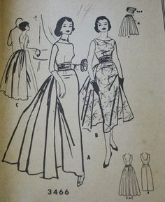 McCall 3466 1950s 50s Wiggle Dress Evening by EleanorMeriwether, $48.00