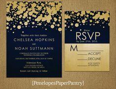 Navy and Gold Wedding InvitationsModern Confetti
