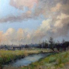 """Daily Paintworks - """"Polder in Netherland"""" - Original Fine Art for Sale - © Pascal Giroud"""