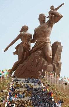 The African Renaissance Monument (French: Le Monument de la Renaissance africaine) is a 49m tall bronze statue located on top of one of the twin hills known as Collines des Mamelles, outside of Dakar, Senegal. Built overlooking the Atlantic Ocean in the Ouakam suburb, the statue was designed by the Senegalese architect Pierre Goudiaby after an idea presented by president Abdoulaye Wade and built by a company from North Korea. It is the tallest statue in Africa.
