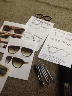 Design research and ideation sketches for my own handmade sunglasses product made here in Hawaii