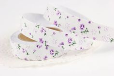 Lavender and white floral fabric tape - white and purple flower washi tape - fabric sticky tape on Etsy, £2.18