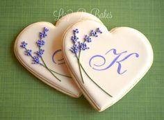 lavender sprigs monogram cookies