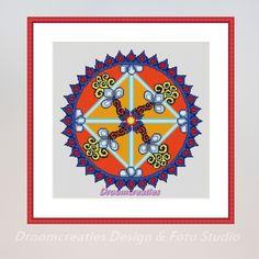 mandala borduurpatroon Equinox herfst €12.50 Incl. BTW  Download PDF-bestand met borduurpatroon mandala Equinox – herfst  afmeting patroon: 30,5 x 30,5 cm – 167 x 167 kruissteken berekend op Aïda 14 count stramienstof (5,5 kruisjes per cm) symbolenkaart bestaat uit 16 kleurnummers van DMC - in dit patroon worden metallic garen (E-kleurnummer) en satin garen (S-kleurnummer) van DMC gebruikt voor een mooi glanzend effect