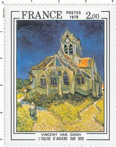 """France, 1979. A French stamp featuring Vincent Van Gogh's (1890) """"The Church at Auvers"""" found in the Musée d'Orsay in Paris. Also featured in the Doctor Who episode """"Vincent and the Doctor"""" which always makes me cry."""