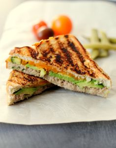 Grilled Tuna Avocado Melt - is it a grilled cheese? is it a tuna melt? I don't know, but what I do know is it is even better than I expected! AND it's healthy AND it's super easy! I added sriracha sauce to the tuna mixture, as that is a recent preference that I would highly suggest if you like a bit of a kick. I added approximately 1T. - Kaitlynne