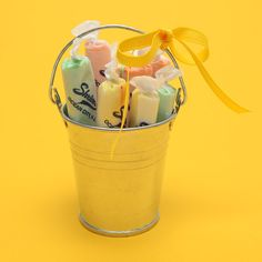 Salt water taffy in galvanized buckets are great for beach weddings. $3.25, shrivers.com