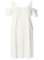 Womens Ivory Buckle Cold Shoulder Dress- White
