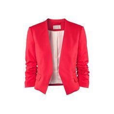 H&M Jacket ($45) ❤ liked on Polyvore featuring outerwear, jackets, blazers, abrigo, red jacket, 3/4 sleeve jacket, h&m, short blazer and h&m blazer