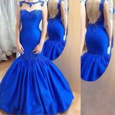 Royal Blue Long Prom Dress, Mermaid Long Prom Dress, 2017 Prom Dress